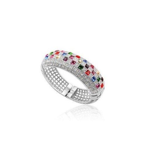 Extravagáns karkötő Swarovski kristályokkal ezüst, multicolor