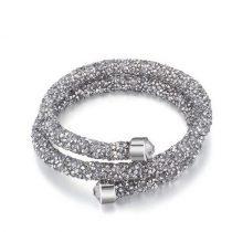 Dupla körös Swarovski kristály karkötő ezüst