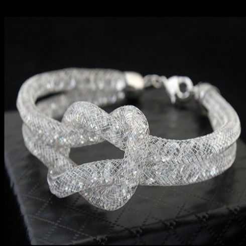 Dupla henger alakú karkötő Swarovski kristályokkal fehér