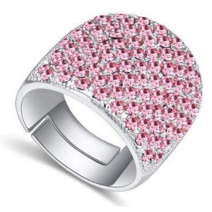 Ezüst színű gyűrű, Swarovski kristállyal díszített díszítve, világos rózsaszín