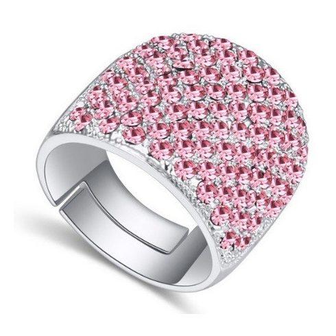 Swarovski köves ezüst színű gyűrű Világos Rózsa