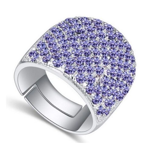 Swarovski köves ezüst színű gyűrű Tanzanite