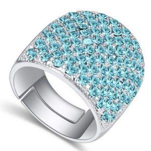 Swarovski köves ezüst színű gyűrű Aqua Kék