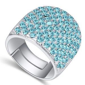 Ezüst színű gyűrű, Swarovski kristállyal díszített díszítve, Aqua kék