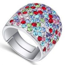Swarovski köves ezüst színű gyűrű Multicolor