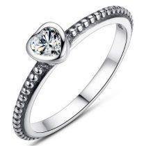 Szív ezüst gyűrű, Fehér, 6