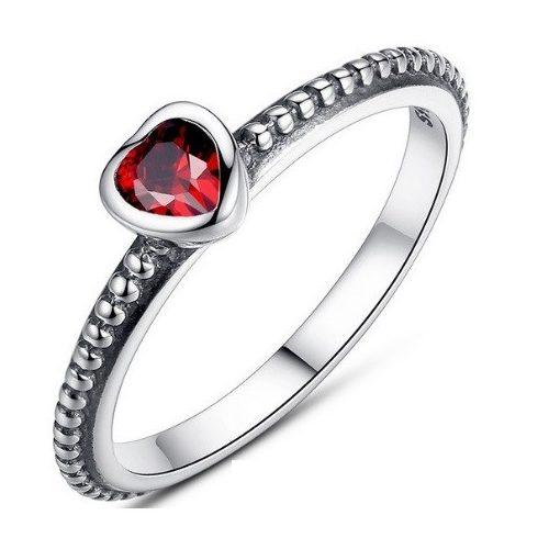 Szív ezüst gyűrű, Piros, 6
