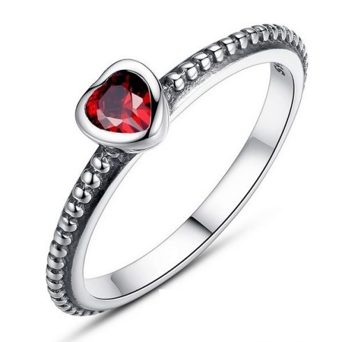 Szív ezüst gyűrű, Piros, 7