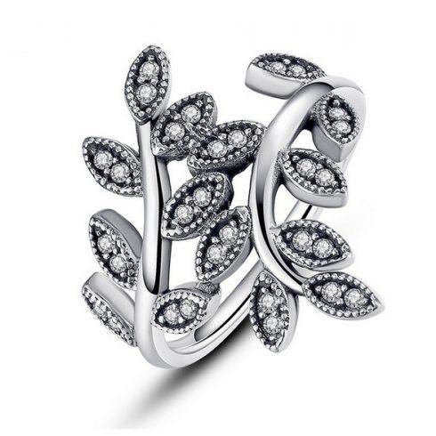 Levél mintás ezüst gyűrű, 8