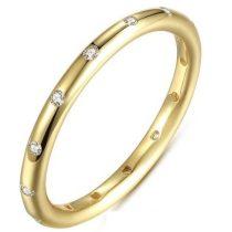 Ezüst, köves karika gyűrű, Arany színű, 6