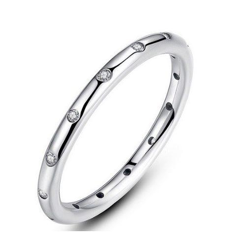 Köves karika gyűrű, Ezüst, 8