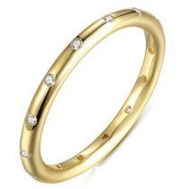 Ezüst, köves karika gyűrű, Arany színű,, 8