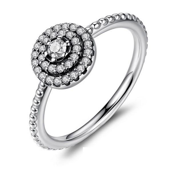 10f7bc063 Kerek virág ezüst gyűrű, 9 (Pandora stílus)