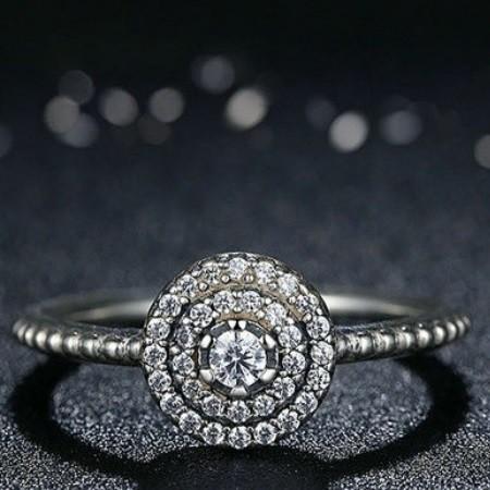 ddeb14b99 Kerek virág ezüst gyűrű, 6 (Pandora stílus)