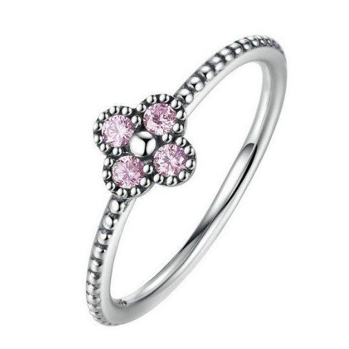 Apró virágos ezüst gyűrű, Pink, 7