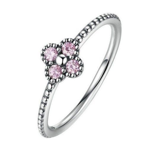 Apró virágos ezüst gyűrű, Pink, 8