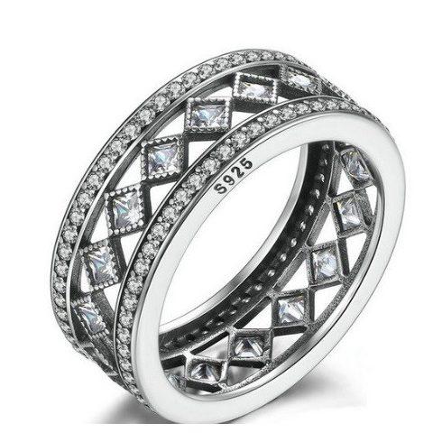Rombusz köves ezüst gyűrű, 6