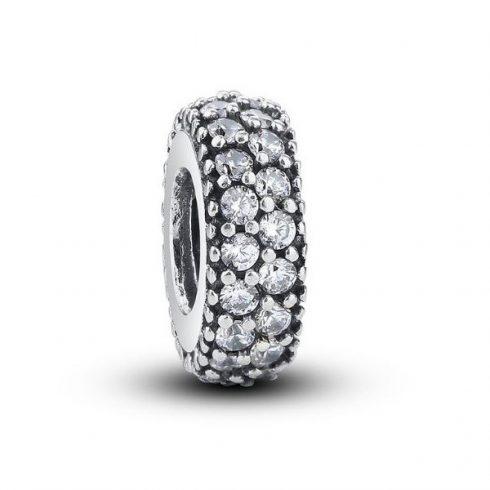 Ezüst gyűrű charm, kristálykövekkel díszítve, fehér -  Pandora stílus