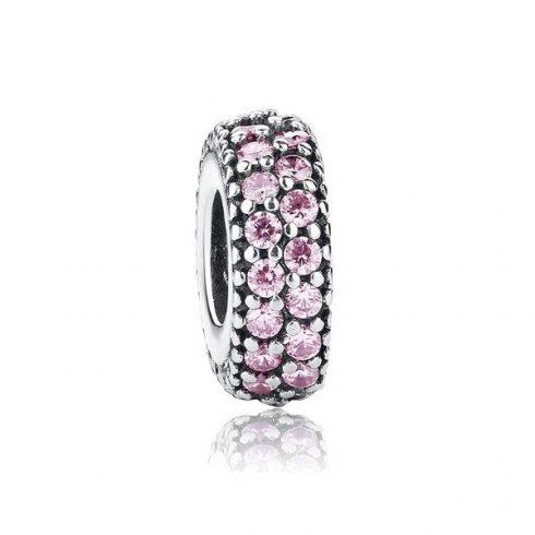 Ezüst gyűrű charm, kristálykövekkel díszítve, rózsaszín -  Pandora stílus