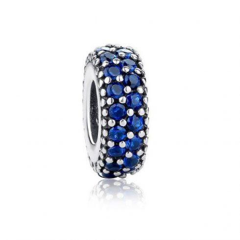 Ezüst gyűrű charm, kristálykövekkel díszítve, kék -  Pandora stílus