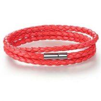 Fonott hármas bőr karkötő, Piros