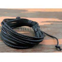 2 darabos bőr karkötő, Fekete