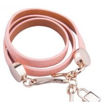 Hármas bőr karkötő, Pink