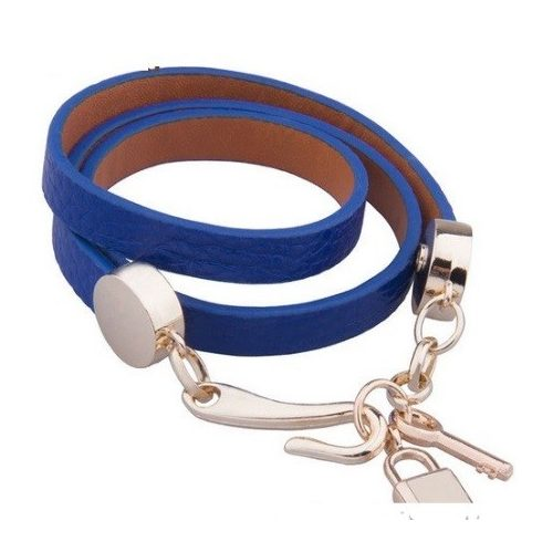 Hármas bőr karkötő, Blue